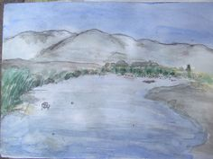 desembocadura Rio Elqui, La Serena. Numero 16  Acuarela Autor: Guillermo Valdivia Villaobos .