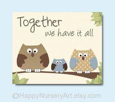 Baby boys brothers room art, nursery decor, owls family nursery art, love quote, brown beige blue, children art prints, little boys art