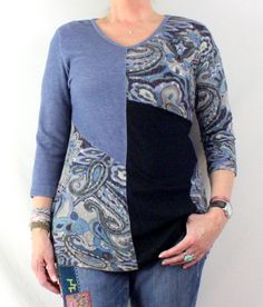 Cute Parsley & Sage M size Denim Blue Black Multi Fabric Tunic Top