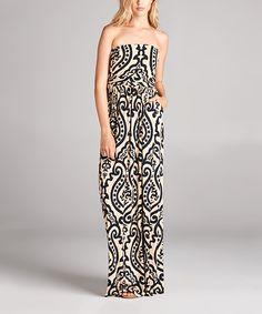 Ivory & Black Strapless Maxi Dress by Jardins Apparel #zulily #zulilyfinds
