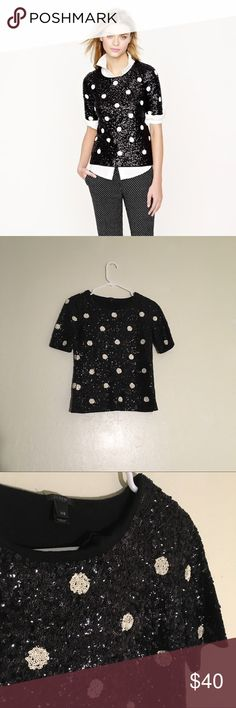 J.Crew Black White Polka Dot Sequin Top Size: xxs //  *all over sequin top with polka dot design *longer short sleeves *great condition J. Crew Tops Blouses