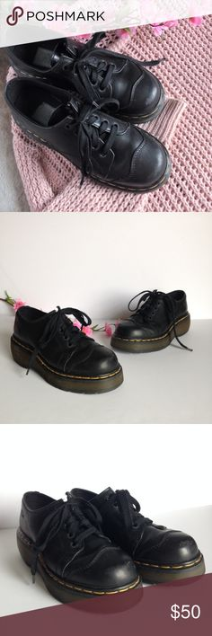"""Vintage Dr. Martens Black Lace Up Shoes Adorable vintage Dr. Martens made in England chunky lace up shoes, in black leather. Features round toe and slight platforms (2"""" at the back and 1"""" at the front). Gently used, some wear as pictured, size UK 5 / US 7. Dr. Martens Shoes Lace Up Boots"""