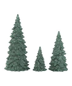 Another great find on #zulily! Green Christmas Trees With Glitter Set #zulilyfinds