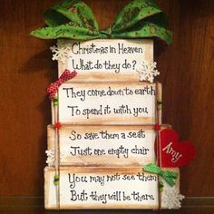 Christmas in Heaven wooden blocks are glittery & bright and can be personalized with a name heart for your loved one in Heaven. (Send a note to