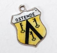 Vintage 800 Silver Enamel Travel Shield Bracelet Charm Ostende Belgium (1.3g)