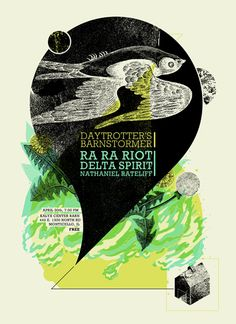Ra Ra Riot/ Delta Spirit/ Nathaniel Rateliff - gig poster by Matthew Harlan