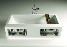 Moma Design Comfort Tank Bathtub - tub is Corian with Teak wood board.