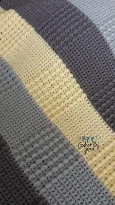 Crochet Gray Yellow Baby Blanket MADE TO ORDER by CrochetByJamie, $64.99