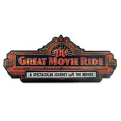 The Great Movie Ride Wall Sign | Disney Store Relive the ''Spectacular journey into the movies'' with this wall sign for The Great Movie Ride. Crafted in wood, it replicates the neon sign outside the popular attraction at Disney's Hollywood Studios.