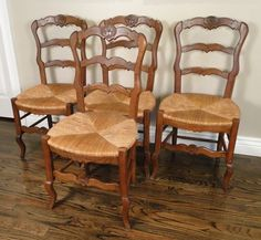 4 Antique French Country Chairs Ladder Back Dining Carved Shells ~ Rush Seats #FrenchCountryProvincial