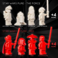 COMING SOON: STAR WARS PURE - Very soon we are introducing a new line of sets with monofigs all in a single color. We call them PURE. The first wave will include 3 cool sets: -  Star Wars PURE - The Force (White)  Star Wars PURE - The Dark Side (Black)  Star Wars PURE - Red. - And later this year the PURE line will expand into the super heroes theme. - #monofigs #lego #legostarwars #starwarslego #lukeskywalker #darthvader #r2d2 #chewbacca #theforce #thedarkside #instalego #brickstagram…