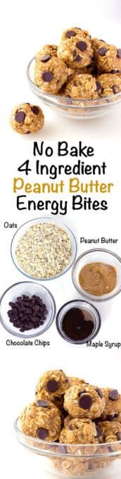 No-Bake Peanut Butter Energy Bites No Bake 4 Ingredient Energy Bites - A quick and easy make ahead snack for on the go! Energy balls with peanut butter and chocolate chips! No Bake 4 Ingredient Energy Bites - A quick and easy make ahead snack Healthy Sweets, Healthy Snacks, Healthy Recipes, Healthy Protein, Protein Foods, Protein Snacks For Kids, Free Recipes, Casseroles Healthy, Healthy Yogurt