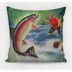 Almofada decorativa em tecido estampado - VINTAGE FISHING – 45cm X 45cm
