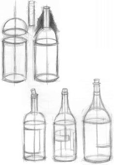 Bottles are fun to draw because you stack simple shapes to form them. The label on any curved container will echo the curvature of that surface. Make labels similar in curvature to the bottom or top edge closest to it. You can draw ellipses inside the container to help guide you.