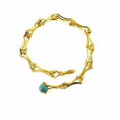 Double Diamond link bracelet in 24k gold on sterling silver with turquoise accent. Gina Pankowski Jewelry