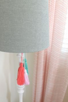 Lamp with DIY Tassels - so easy to do with yarn and scissors!