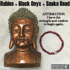 Ruby helps us to see the true nature of love, and reveals the Divine Love in everything in the Universe.   RESET: Ruby + Black Onyx + Snake #yoga # Mala # Bead #Bracelet #mens #bracelets #womens #healing #spiritual #meditation #crystal #crystals #love #style #luck #lucky #artisan #handmade #jewelry #artisan #OOAK  #fallfashion #love #blessed #black #fashion #mens #buddha