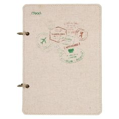 "Mead 2 Ring Journal, Lined and Plain Paper, 120 sheets, 6"" x 8.5"" - Travel Stamp Design,"