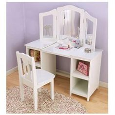 Deluxe White Kids Vanity And Chair | Kids Furniture | Vanities