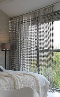 Chainmail curtain from LE LABO Design at Pulsai Sunroom Curtains, Curtains Living, Living Room Windows, Curtains With Blinds, Window Coverings, Window Treatments, Black Sheer Curtains, White Room Decor, Casamance