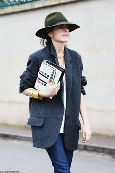 ffc8dd6ad4 Paris Fashion Week Fall 14-Street Style-PFW-Green Hat-Man Repeller-Dior-5  Collage Vintage