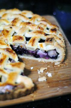 Lattice-top Nectarine and Blueberry Pie Fantastic fruit pie with blueberries and nectarines. Bon appetite.