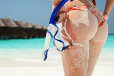 Picture of Sexy sandy woman with snorkeling equipment on the beach background stock photo, images and stock photography. Brazilian Butt Workout, Lean Legs, Beach Background, Muscle Building Workouts, Beach Bum, Physical Fitness, Build Muscle, Snorkeling, Sensual