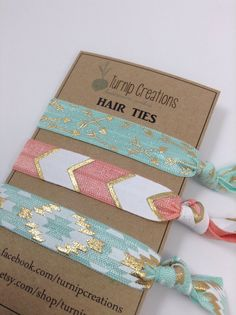 Hair Ties Mint Coral & Gold FOE Aztec Chevron Arrows by turniptots