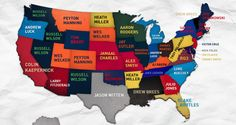 A map of the most popular jersey in each state.