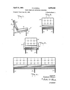 Print of original patent application rendering submitted by Florence Knoll for her sofa.