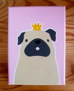 "Pug Princess Canvas, 7x5"" Canvas Art, Pug, Acrylic Canvas, Original Art by AnnetteJonesArt on Etsy https://www.etsy.com/listing/236006997/pug-princess-canvas-7x5-canvas-art-pug"