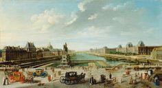 Une peinture de Nicolas-Jean-Baptiste Raguenet, révélant la vue depuis le Pont Neuf à Paris en 1783.