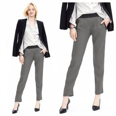 Banana Republic Faux Leather Trim Drapey Pant Awesome pants to wear to work or dress up for a night out! Color urban grey. Faux leather trim and exposed zip pockets. Elasticized faux leather waist. Front zip pockets. Material: polyester. Machine wash. Brand New condition. All reasonable offers are welcome! Please make all offers through the offer button Banana Republic Pants