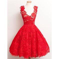 Elegante vestido de encaje rojo con escote en V