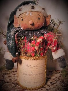 Primitive Folk Art Christmas Elf Doll In a Rusted Can~Candy Canes 1 #NaivePrimitive #DustpanDolliesbyPaula