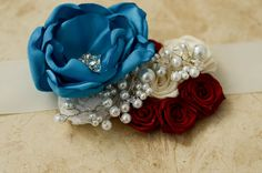 Bridal Sash, Bridal Belt, Turquoise, Ivory, White, and Red Flowers with Beading and Rhinestones, Custom, FREE SHIPPING. $79.00, via Etsy.