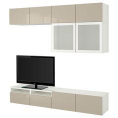 ZigZag Trading Ltd IKEA BESTA - TV storage combination/glass doors White/selsviken high-gloss/white clear glass Tv Ikea, Tv Cabinet Ikea, Tv Wand, Tv Bench, Plastic Foil, Pax Wardrobe, Tv Storage, Storage Systems, Shopping