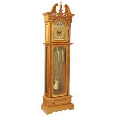 OAK GRANDFATHER CLOCK W GLASS #antiquegrandfatherclock