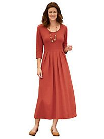 J.G. hook® Waist Pleated Scoop Neck Dress
