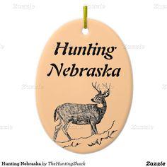 Hunting Nebraska Double-Sided Oval Ceramic Christmas Ornament