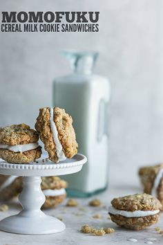 Cereal Milk cookie sandwiches studded with crushed cornflakes and inspired by the Momofuku Milk Bar cookbook.