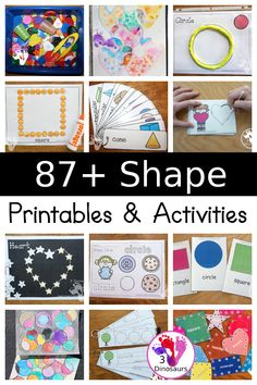 87+ Shape Printable & Activities - with shape packs, no-prep shape printables, shape puzzles, shapes shorting, shape crafts, - 3Dinosaurs.com #kindergarten #prek #preschool #shapeprintables #shapecrafts #shapeactivities #3dinosaurs Learning Games For Kids, Learning Shapes, Preschool Learning Activities, Activities For Kids, Educational Activities, Preschool Ideas, Shape Worksheets For Preschool, Shape Coloring Pages, Tracing Shapes