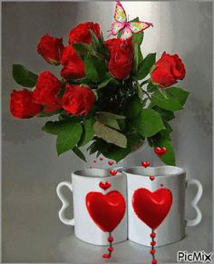 Good Morning My Darling Beautiful Gif, Beautiful Roses, Gif Pictures, Pretty Pictures, Bisous Gif, Beau Gif, Coffee Gif, Coffee Images, Coffee Cups