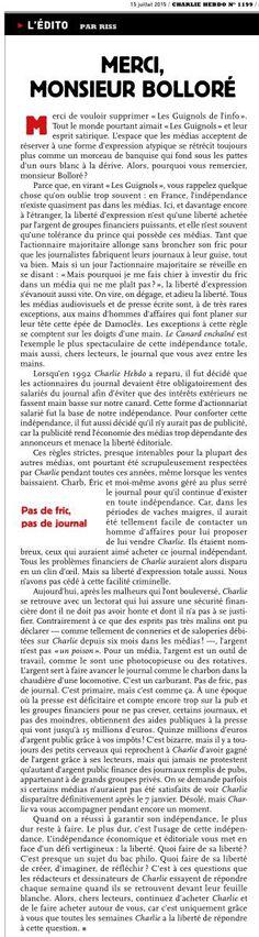 Merci #CharlieHebdo Ns tenons aussi à votre indépendance vs lisons & vs soutenons pr des infos libres  @laurent_leger