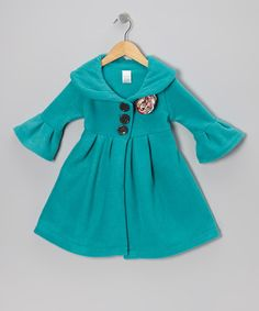 Take a look at this Teal & Red Flower Dress Coat - Toddler & Girls by Beary Basics on #zulily today!