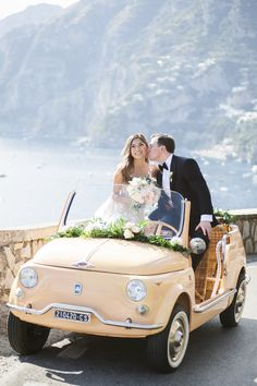 Amalfi Coast wedding with a custom vintage fiat overflowing with flowers for Christine of Tour de Lust's destination wedding on the Amalfi Coast in Italy. We think she looks beautiful in our tulle embroidered ballgown. Wedding Music, Our Wedding, Dream Wedding, Wedding Ideas, Wedding Venues, Wedding Cars, Summer Wedding, Wedding Inspiration, Fiat 500