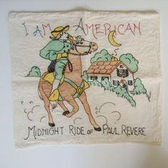 Vintage tinted embroidered pillow cover Midnight Ride of Paul Revere