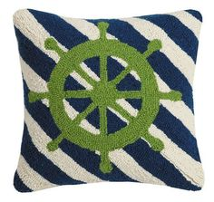 Nautical styling for your indoor room can be had with this beautiful 16x16  Captains Wheel Stripes Wool-Hooked Pillow.
