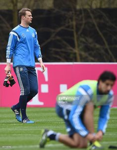 Goalkeeper Manuel Neuer arrives for a Germany training session ahead of their Euro 2016 Qualifier...