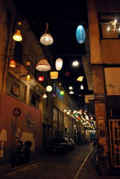 Pittaki Street , Psurrh , downtown Athens if only all city lighting looked like this charming street in Athens